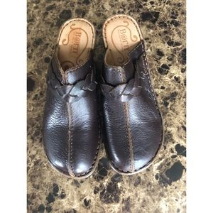 Born Shoes - Born Brown Leather Clogs With Braid